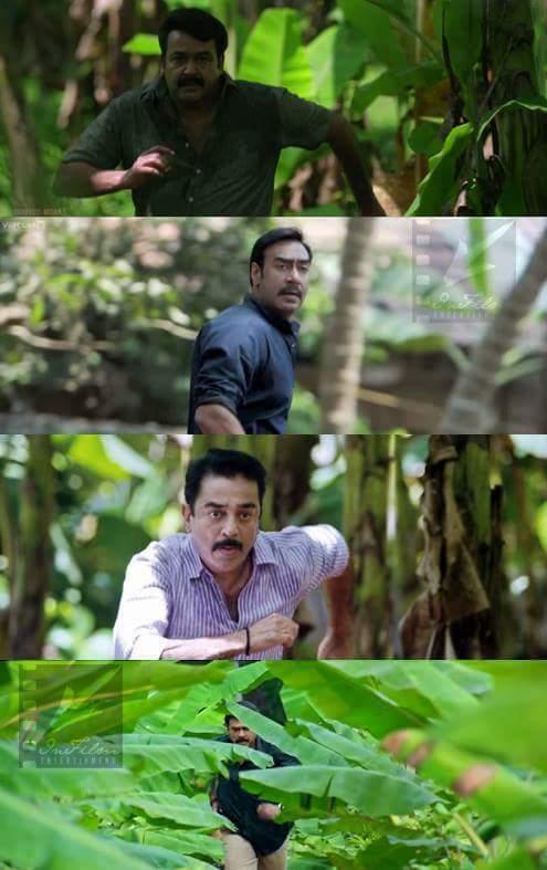 From Top To Bottom: Mohanlal in Drishyam (2013), Ajay Devgan in Drishyam (2015), Kamal Hassan in Papanasam (2015) & Daggubati Venkatesh in Drushyam (2014)